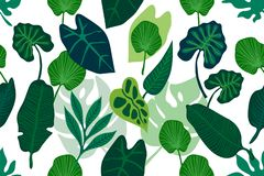 Green wide jungle print. vector illustration