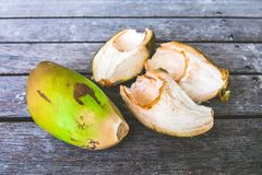 Green wide and open coconuts. On the wooden baclground Royalty Free Stock Images