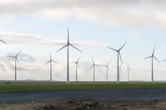 Green wind energy field. Green Wind energy mills on a power field Stock Image