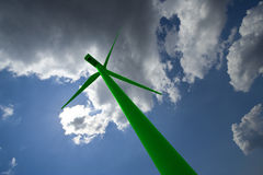 Green wind mill royalty free stock images