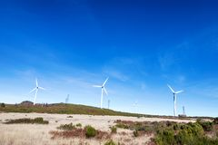 Green wind power in the mountains. On the island of Madeira in Portugal royalty free stock photography