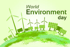 Green Wind Turbine Solar Energy Panel World Environment Day Stock Images
