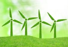 Green wind turbines Stock Photo