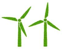 Green wind turbines symbol Royalty Free Stock Photo