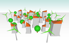 Green windmill powered futuristic city concept Royalty Free Stock Photography