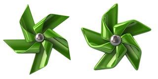Green windmills 3d illustration Royalty Free Stock Photo