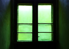 Green window door. Royalty Free Stock Photos