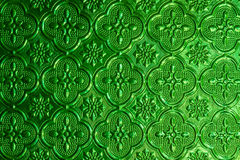 Green window glass background in Thai style house. Stock Photo