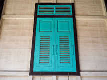 Green window made of wood thai style.  Stock Image