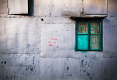 Green Window and Metal Shack stock photos