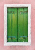 Green Window and Pink Wall Royalty Free Stock Photography