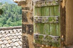 Green window shutter stock photos