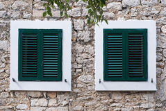 Green window shutter Stock Photography