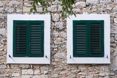 Green window shutter Stock Photography