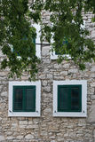 Green window shutter Royalty Free Stock Photo
