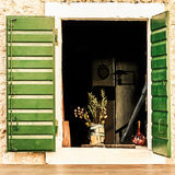 Green window shutters Royalty Free Stock Photography
