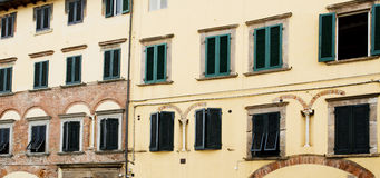 Green Window Shutters in Lucca Stock Images