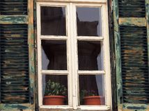 Green Window Shutters, Plaka, Athens Stock Photography
