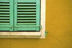 Green window shutters Stock Photos