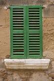 Green window. Window typical of the island of Mallorca Stock Photo