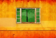 Green window on yellow wall Royalty Free Stock Photo