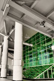 Green windows. In station with pillar in modern city Royalty Free Stock Images