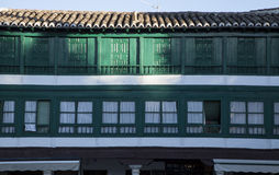 Green windows and balconies Royalty Free Stock Photography