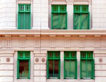 Green windows of MICA Building in Singapore stock photos
