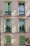 Green windows. Old apartment windows in France Royalty Free Stock Photos