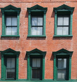 Green Windows in Old Brick Building Stock Photos