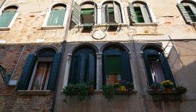 Green windows in Venice, Italy Royalty Free Stock Photos