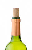 Green wine bottle with cork Stock Images