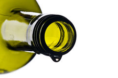 Green wine bottle with drop Stock Image