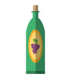 Green wine bottle grape elegance drink bar shadow Royalty Free Stock Images