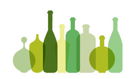 Green wine bottle illustration. Royalty Free Stock Photos