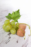 Green wine grapes with champagne cork. Royalty Free Stock Images