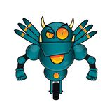 Green Wing Fighter Robot vector. Green Fighter Robot with wings and angry expression vector illustration