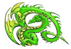 Green winged dragon. Draw of funny green winged dragon smile on a white background Royalty Free Stock Image