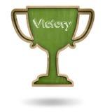 Green winner cup shape blackboard Stock Photo