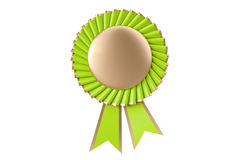 Green winning award, prize, medal or badge with ribbons. 3D rend Stock Images