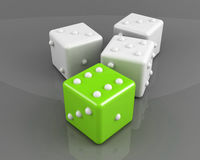 Green winning dice Royalty Free Stock Photography