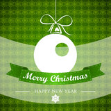 Green winter background with ball and ribbon. Christmas card Stock Photo