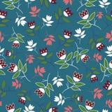Green winter folk florals seamless pattern royalty free illustration