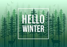Green winter forest with reindeer, vector royalty free stock photo