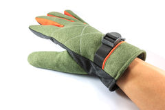 Green winter glove on white Stock Images