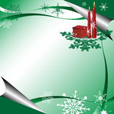 Green winter greeting. Colorful green winter greeting with red candles, present box, green fir branches and various snowflakes Stock Image
