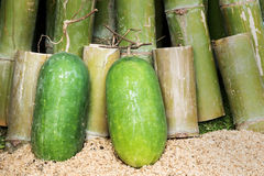 Green winter melon with bamboo background Royalty Free Stock Images