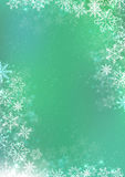 Green winter paper background with snowflake border Royalty Free Stock Photography