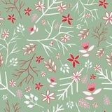 Green winter vintage florals seamless pattern vector illustration