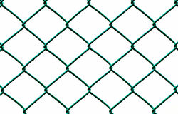 Green Wire Fence isolated on White Background Royalty Free Stock Images